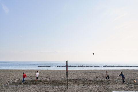 Beach, People on beach, Sea, Sky, Ocean, Shore, Horizon, Sand, Coast, Wave,