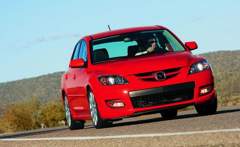 Land vehicle, Vehicle, Car, Mazda, Mazdaspeed3, Mid-size car, Automotive design, Hatchback, Hot hatch, Sports sedan,