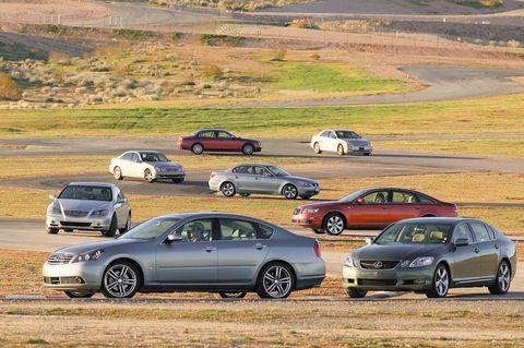 2005 acura rl, 2005 audi a6, 2005 bmw 530i, 2005 cadillac sts, 2005 infiniti m45, 2005 jaguar s type 42, 2006 lexus gs430, 2005 mercedes benz e350