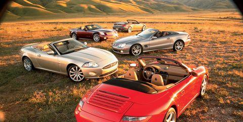 2006 bmw 650i, 2006 cadillac xlr v, 2006 jaguar xk, 2006 mercedes benz sl550, 2006 porsche 911 carrera