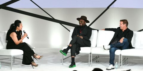 Lee Chan, will.i.am, and Mike Dennison on stage at the 4th Annual Fashion Tech Forum Conference in Los Angeles, CA on October 6, 2017.