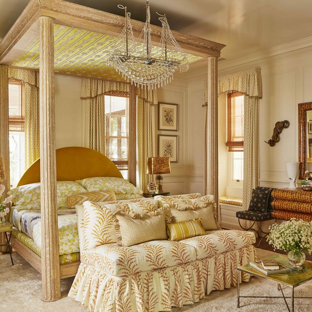 a cream yellow and green bedroom