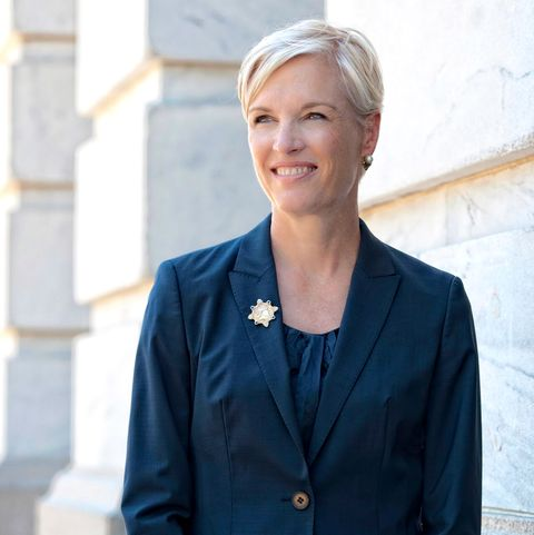 headshot of cecile richards wearing a navy blue suit
