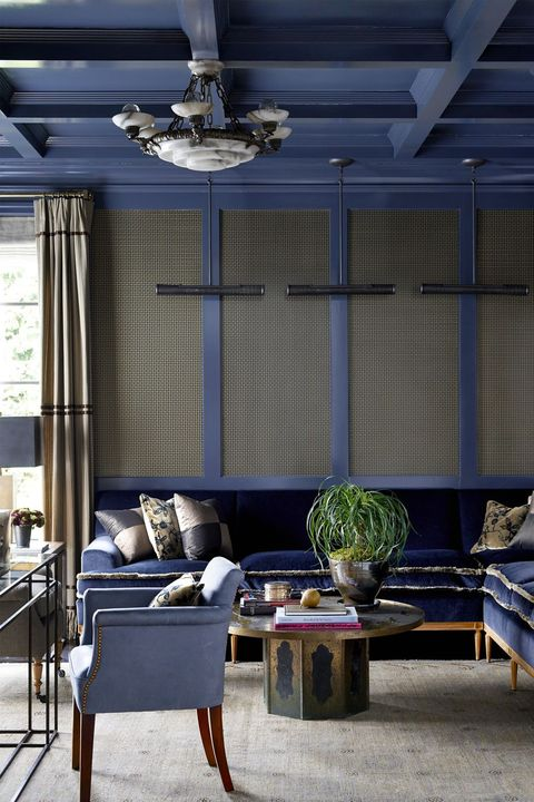 Room, Blue, Furniture, Interior design, Living room, Building, Ceiling, House, Wall, Table,