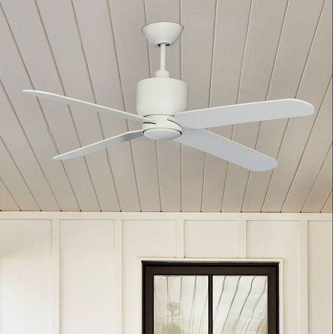 white fan on porch