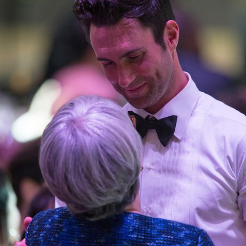 patsy noah and her son adam levine in a tuxedo