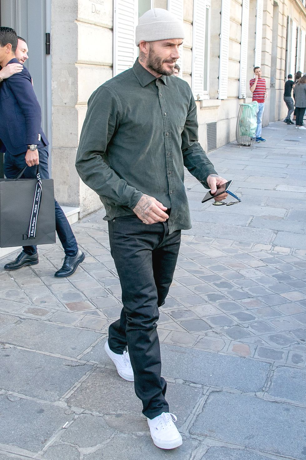 David Beckham Long sleeve button-fronts are necessary for cooler spring days.