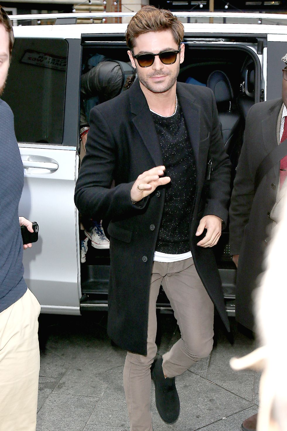 Zac Efron In the early days of spring, you'll still need to keep a few sweaters on hand.