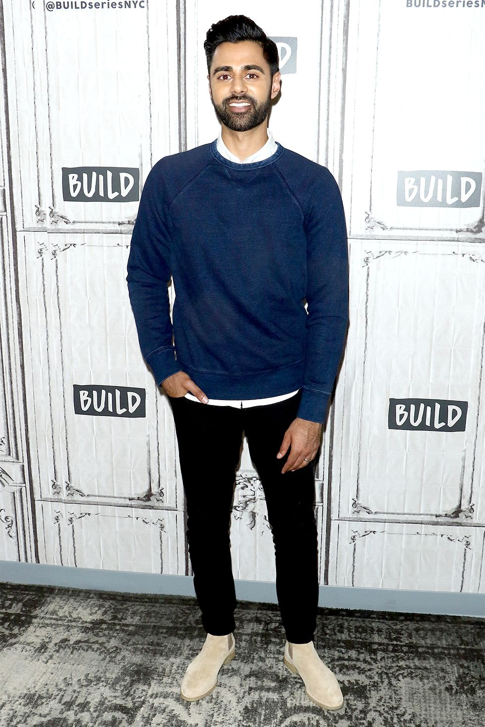 Hasan Minhaj Sand-colored Chelsea (or desert) boots are a great transition piece—you get the full coverage of a boot but the more spring-appropriate color.