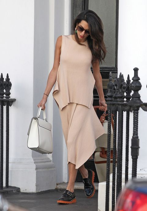 Clothing, White, Shoulder, Dress, Fashion model, Fashion, Beige, Neck, Footwear, Street fashion,