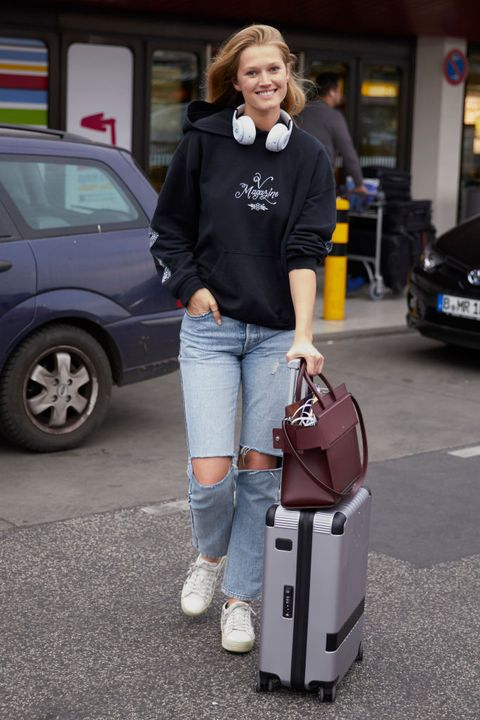 Hand luggage, Baggage, Luggage and bags, Street fashion, Vehicle, Travel,