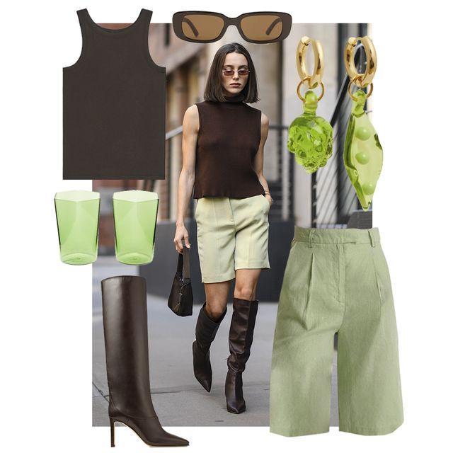 mary leest draagt groene bermuda en bruine tank top