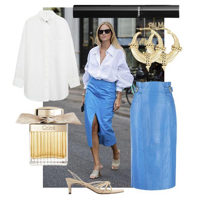 tine andrea draagt midi rok en oversized bloes