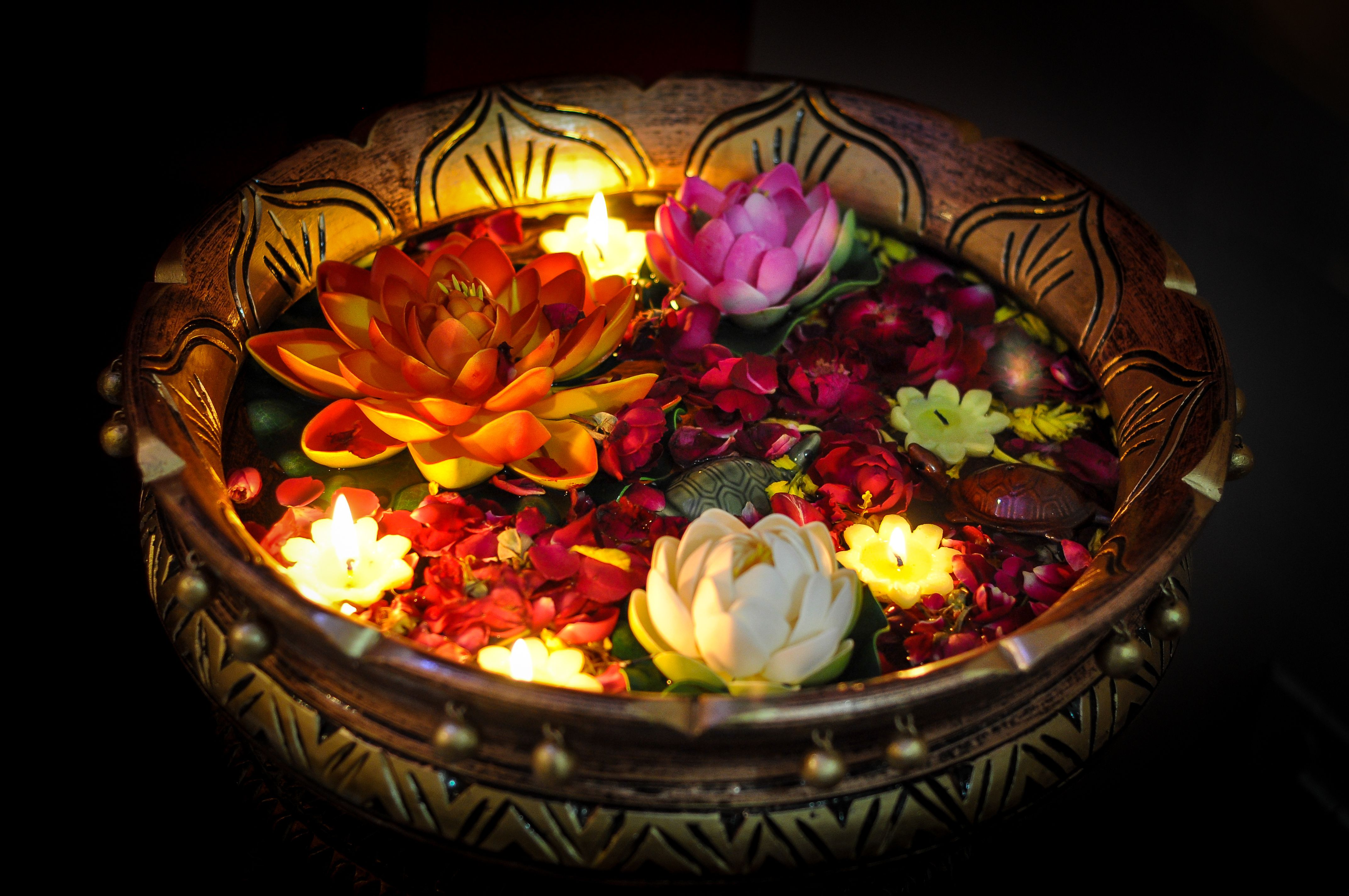 Celebration Of Diwali With Lit Up Floating Candle And Flower In A  Bowl,India.