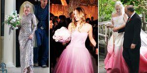 Colourful celebrity wedding dresses
