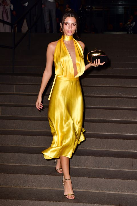new york, ny   april 06  emily ratajkowski leaves wedding reception for char defrancesco and marc jacobs at the grill and the pool on april 6, 2019 in new york city  photo by james devaneygc images