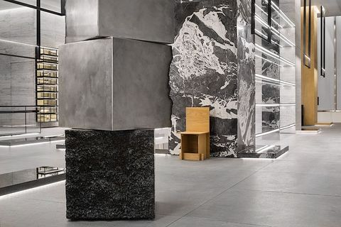 Column, Sculpture, Floor, Wall, Art, Architecture, Rock, Material property, Marble, Flooring,