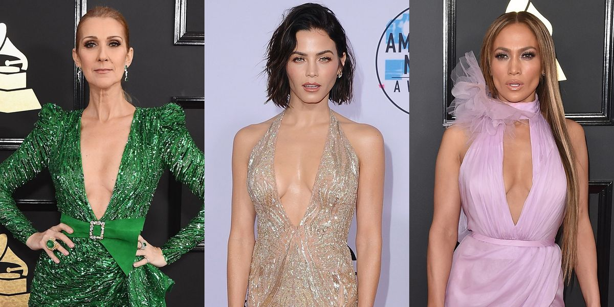 Celebrities Best Plunging Necklines From 2017 Red Carpets