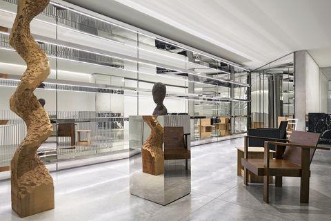 Interior design, Building, Architecture, Display case, Lobby, Design, Room, Sculpture, Art, Museum,