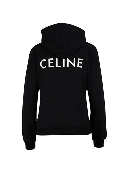 still life shot of celine hoodie with logo printed on back in black and white