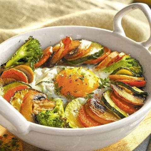 cenas sanas verduras con huevo