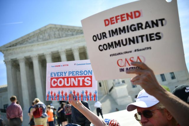 demonstrators rally at the us supreme court in washington, dc, on april 23, 2019, to protest a proposal to add a citizenship question in the 2020 census   in march 2018, us secretary of commerce wilbur ross announced he was going to reintroduce for the 2020 census a question on citizenship abandoned more than 60 years ago the decision sparked an uproar among democrats and defenders of migrants    who have come under repeated attack from an administration that has made clamping down on illegal migration a hallmark as president donald trump seeks re election in 2020 photo by mandel ngan  afp        photo credit should read mandel nganafp via getty images
