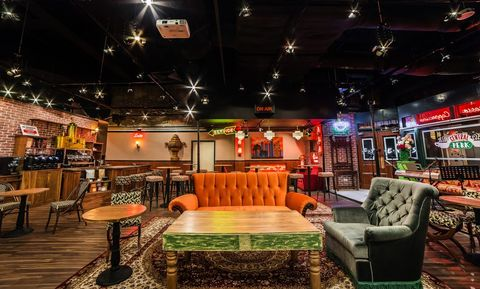 Building, Room, Interior design, Furniture, Night, Restaurant, Table, Architecture, Bar, Leisure,