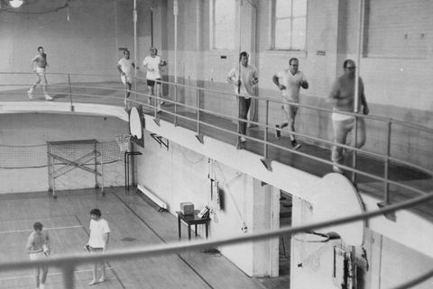 1970, APR 29 1970, APR 30 1970; Central YMCA Club Members Jog Their Way Around Remodeled, Banked Tra