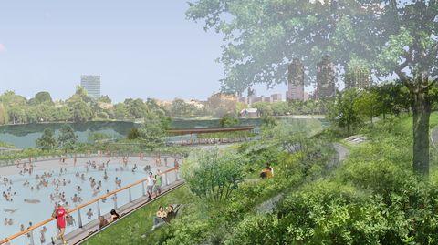 Atmospheric phenomenon, Tree, Architecture, Grass, Urban design, Landscape, Garden, City, Plant, Hill station,