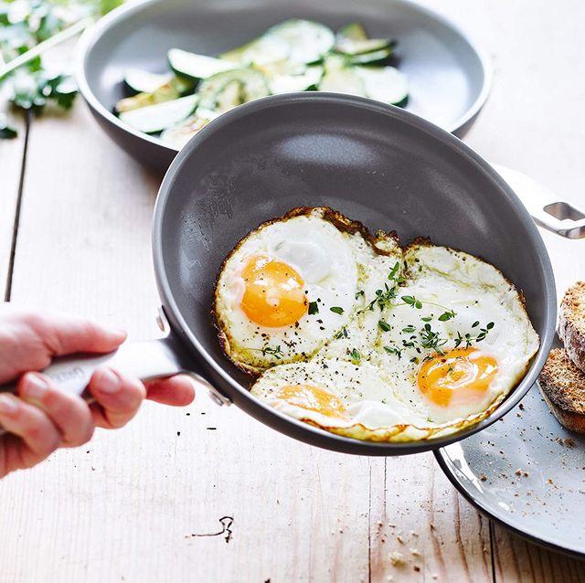 fried eggs on greenpan saute pan