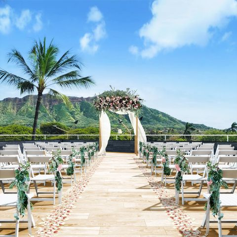 Aisle, Ceremony, Tree, Vacation, Palm tree, Walkway, Resort, Architecture, Building, Plant,