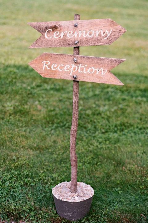 ceremony reception wedding sign