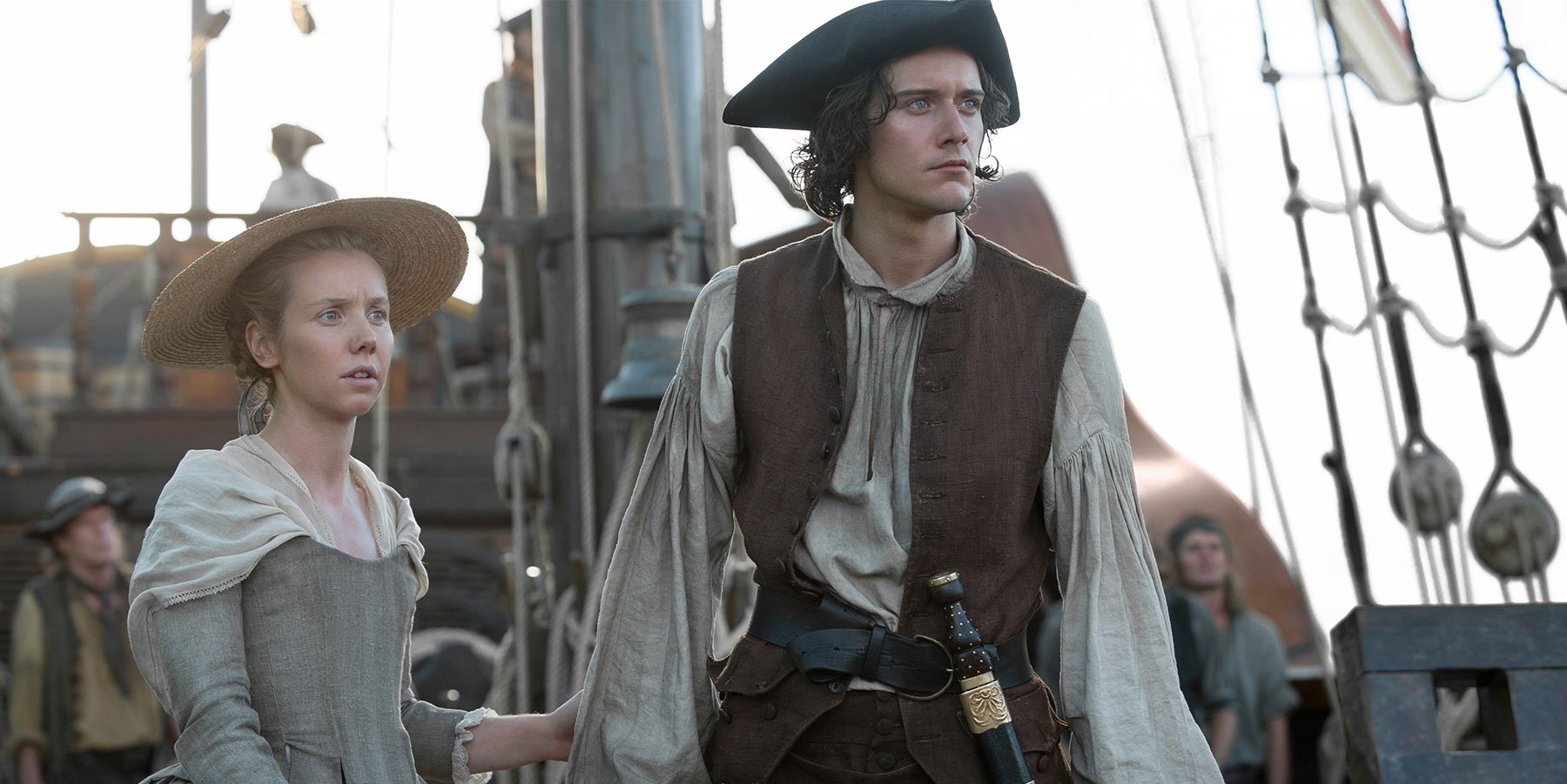 Cesar Domboy and Lauren Lyle as Marsali and Fergus in Outlander