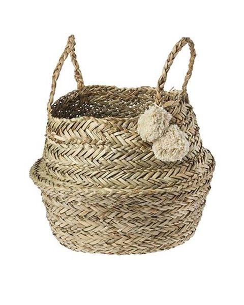 cesta de fibra con pompones