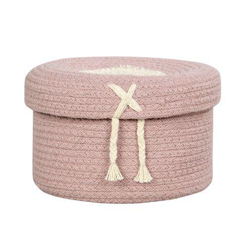 Mini cesta con tapa en color rosa