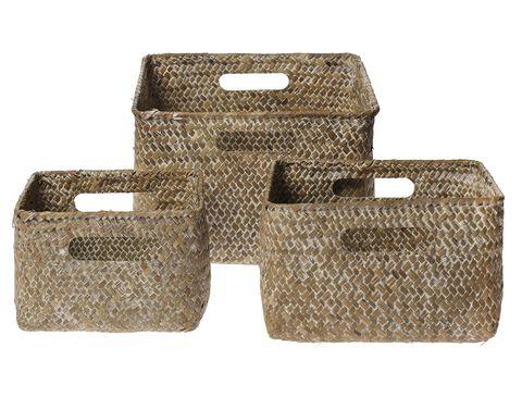 Conjunto de cestas de fibra natural con asas