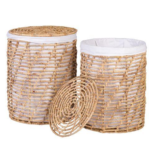 cestos para la ropa de caña con tapa