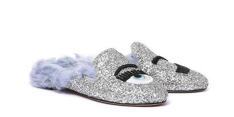Footwear, Shoe, Slipper, Silver, Ballet flat, Fashion accessory, Sandal,