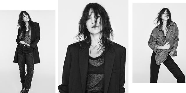 three photos of charlotte gainsbourg wearing her denim collection for zara
