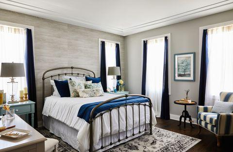 Bedroom, Furniture, Bed, Room, Bed sheet, Interior design, Bed frame, Property, Blue, Bedding,