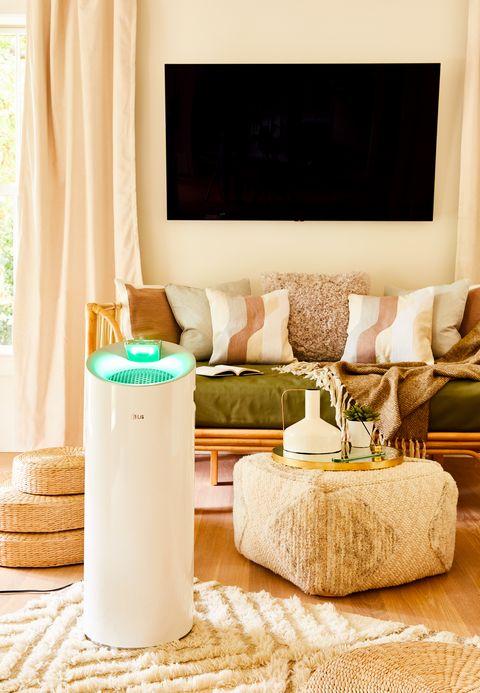 Living room, Room, Furniture, Table, Interior design, Floor, Wall, Flooring, Home, Beige,
