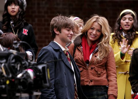 blake lively, chace crawford, ed westwick, leighton meester and penn badgley on location for