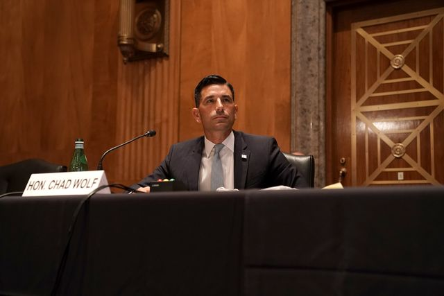 acting secretary of homeland security chad wolf testifies at his senate homeland security and governmental affairs committee confirmation hearing on september 23, 2020 in washington, dc photo by greg nash  pool  afp photo by greg nashpoolafp via getty images