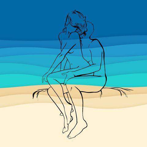 Water, Drawing, Leg, Illustration, Sketch, Sitting, Elbow, Knee, Human leg, Back,