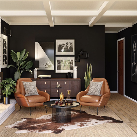 3d rendering of a living space with cowhide, leather, and black accents with plenty of plants