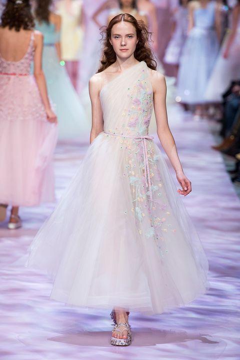 Shoulder, Dress, Joint, Waist, Formal wear, Pink, Fashion model, Style, Fashion show, One-piece garment,