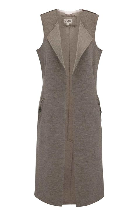 Clothing, Outerwear, Dress, Beige, Sleeveless shirt, Coat, Vest, Sleeve, Day dress, Jacket,