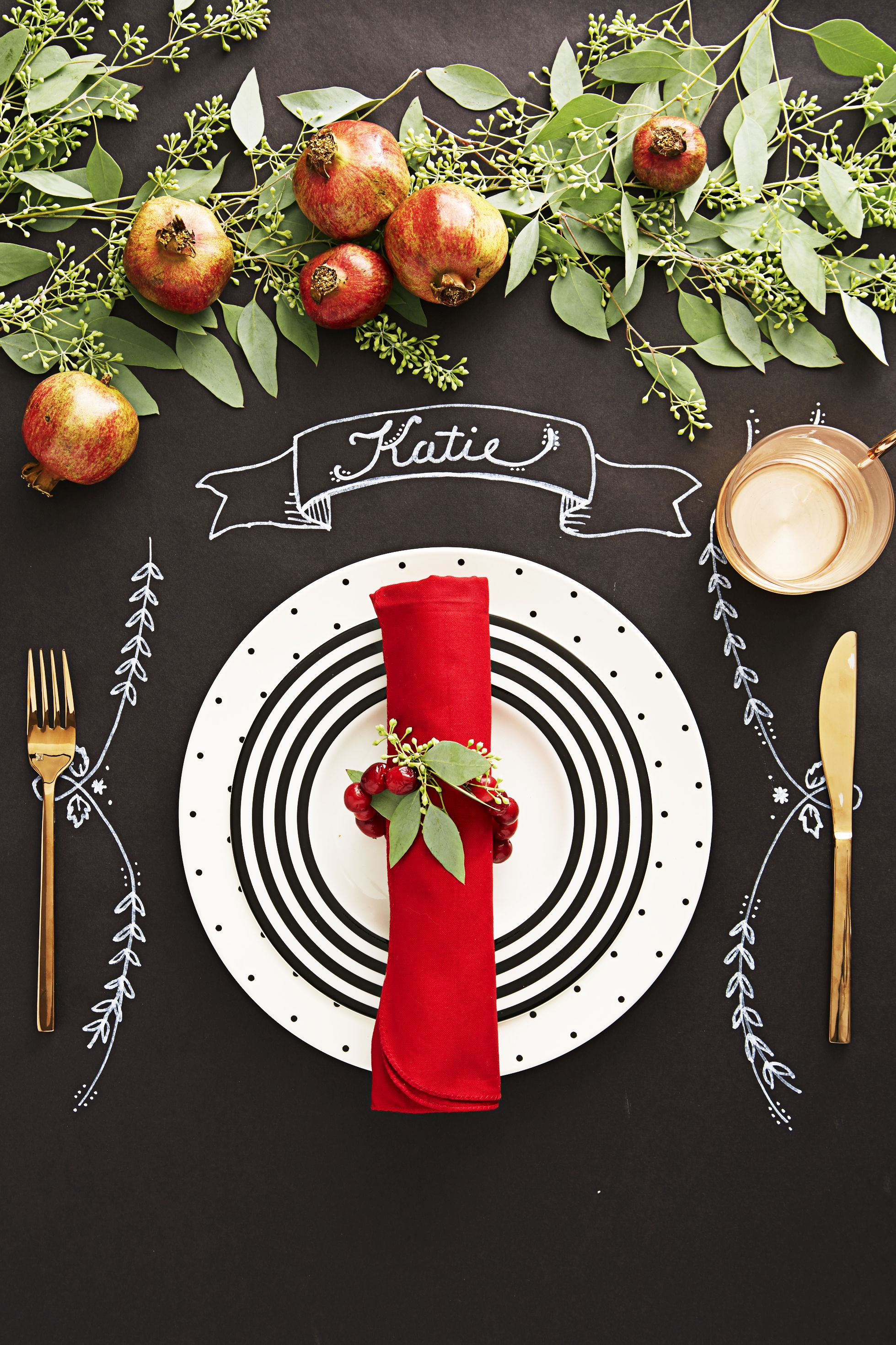 chalkboard christmas table setting