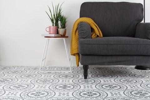 Rust-Oleum stencil floor