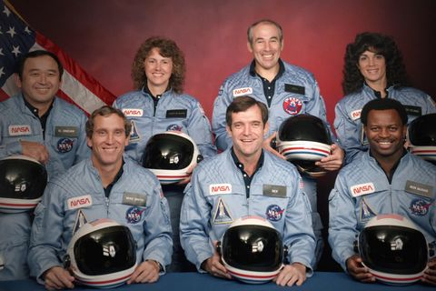challenger   the final flight l to r the challenger 7 flight crew ellison s onizuka mike smith christa mcauliffe dick scobee gregory jarvis judith resnik and ronald mcnair in episode 4 of challenger   the final flight cr public domainnasa